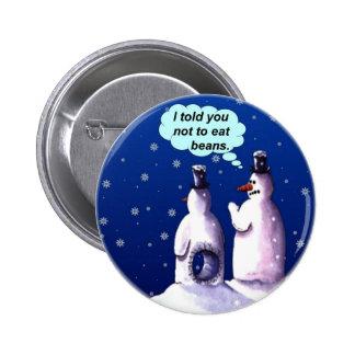 Funny Snowmen Cartoon Button