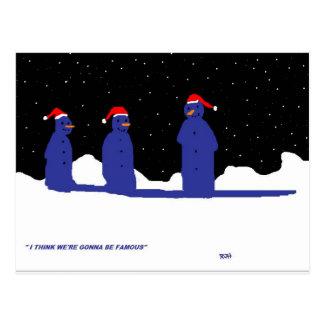 FUNNY SNOWMEN CHRISTMAS POST CARDS