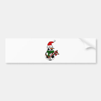 Funny Soccer Ball Snowman Christmas Cartoon Bumper Sticker