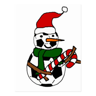 Funny Soccer Ball Snowman Christmas Cartoon Postcard