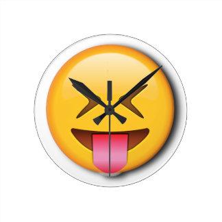 Funny Social Emoji Round Clock