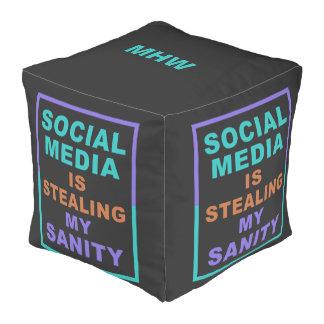 """Funny """"Social Media"""" custom monogram poufs"""