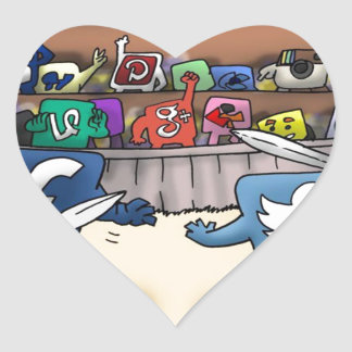 Funny Social Media Wars Heart Sticker