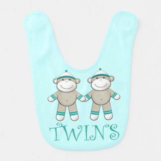 Funny Sock Monkey Twins Baby Bib
