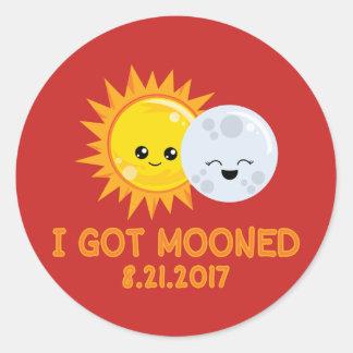 Funny Solar Eclipse   I Got Mooned Classic Round Sticker