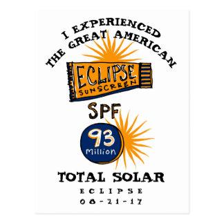 Funny Solar Eclipse Sunscreen Postcard