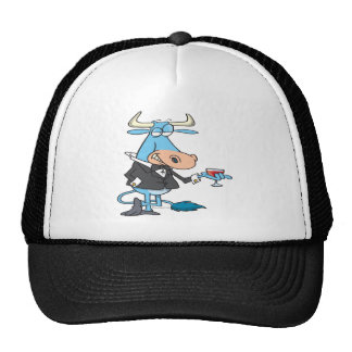 funny sophisticated bull cartoon mesh hats