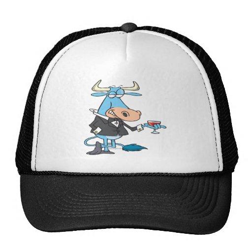 funny sophisticated bull cartoon mesh hats