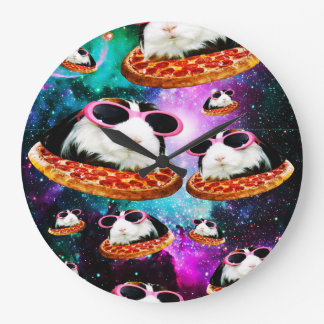Funny space guinea pig large clock