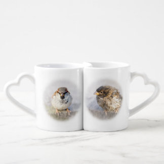Funny sparrows customizable coffee mug set