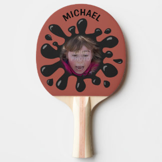 Funny Splatter Squish Black Goo Custom Name Photo Ping Pong Paddle