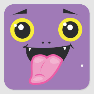 Funny spooky cheeky face square sticker