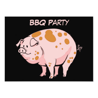 Funny Spotted Pink Pig BBQ Cookout Party Custom 14 Cm X 19 Cm Invitation Card