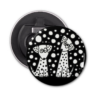 Funny Spotted Puppy Dogs Abstract Art Bottle Opener