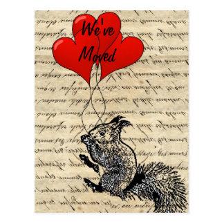 Funny squirrel change of address postcard