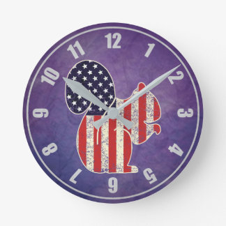 Funny Squirrel Distressed American Flag Patriotic Round Clock
