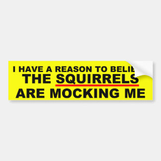 Funny squirrel joke car bumper sticker
