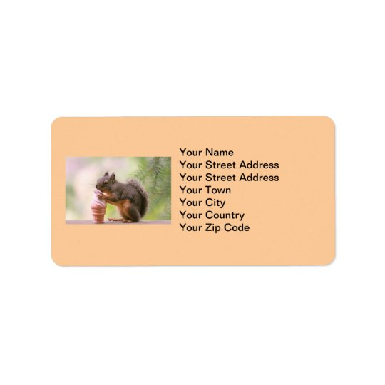 Funny Squirrel Licking Ice Cream Cone Address Label