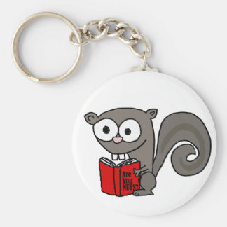 Funny Squirrel Reading Are you Nuts Book Key Ring