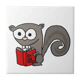 Funny Squirrel Reading Are you Nuts Book Tile