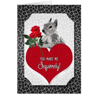 Funny Squirrel Valentine Silver Animal Print Card