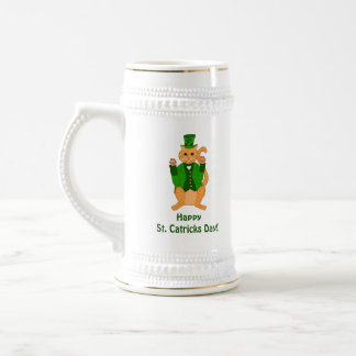 Funny St. Catrick's Day Cat Leprechaun Clover Hat Beer Stein