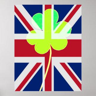 Funny St. Patrick Flag British Irish Shamrock Poster