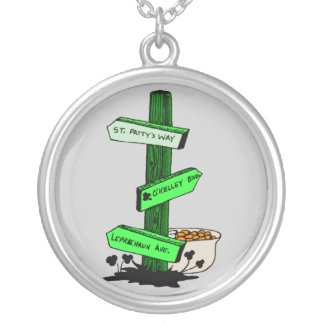 Funny St. Patrick's Day Sign Post Necklace