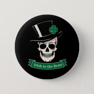 Funny St. Patrick's Day Irish To The Bone Skull 6 Cm Round Badge