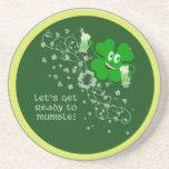 Funny St. Patrick's Day Shamrock Beverage Coaster