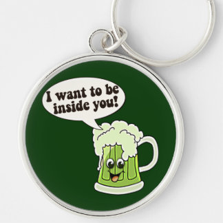 Funny St Patricks Day Silver-Colored Round Key Ring
