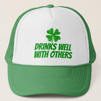 Funny St Patricks Day trucker hats with shamrock
