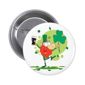 funny st pattys day leprechaun cartoon character pinback button