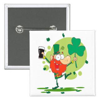 funny st pattys day leprechaun cartoon character pinback buttons
