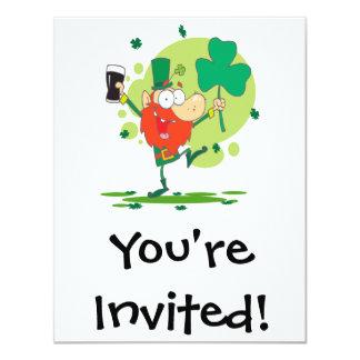 funny st pattys day leprechaun cartoon character custom invitations