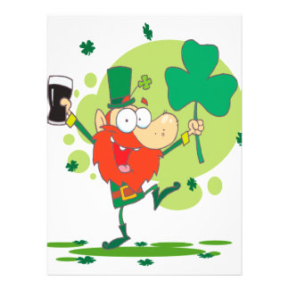 funny st pattys day leprechaun cartoon character custom announcement