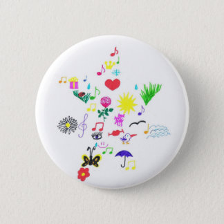 funny star 6 cm round badge