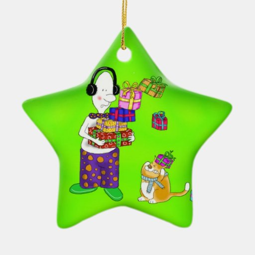 funny star decoration with cat christmas tree ornaments