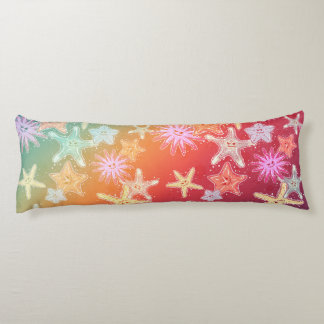 Funny Starfish in a colorful rainbow style pattern Body Cushion
