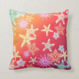 Funny Starfish in a colorful rainbow style pattern Cushion