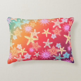 Funny Starfish in a colorful rainbow style pattern Decorative Cushion