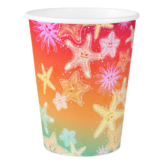 Funny Starfish in a colorful rainbow style pattern Paper Cup