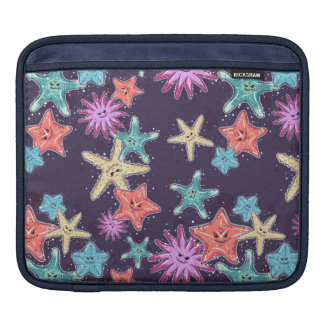 Funny Starfish pattern in a deep-coloured style iPad Sleeve