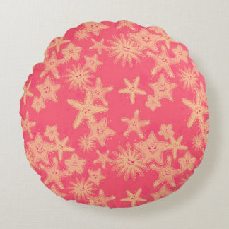 Funny Starfish rouge-lemonade pattern Round Cushion