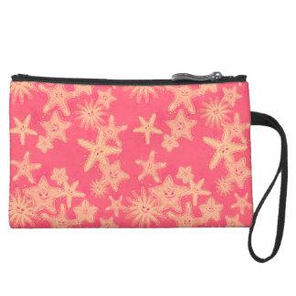 Funny Starfish rouge-lemonade pattern Suede Wristlet