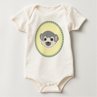 Funny staring baby lemur baby bodysuit
