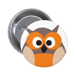 Funny staring cartoon owl button
