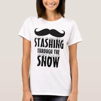 Funny Stashing Through the Snow Ladies T-Shirt