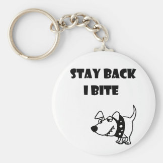 Funny Stay Back I Bite Dog Cartoon Key Ring