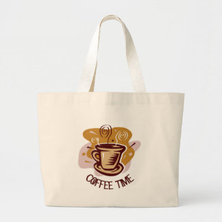 """Funny steaming hot mug saying """"Coffee Time""""! Canvas Bags"""